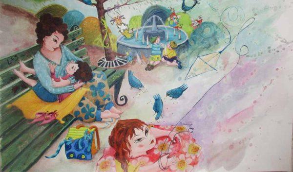 Les Tétées de Maïté, illustration, au parc