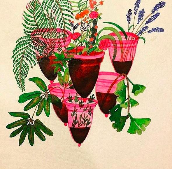 illustration, des cups remplies de menstruations et faisant penser à des vases
