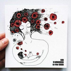 La carte allaitement Olalarte sur laquelle est illustrée une femme allaitant son bébé