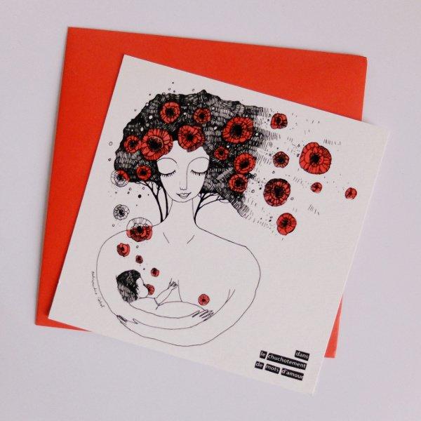 La carte allaitement Olalarte avec une enveloppe rouge