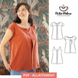 """Patron allaitement PDF """"Tétée Shirt"""", de Pêche Melma"""