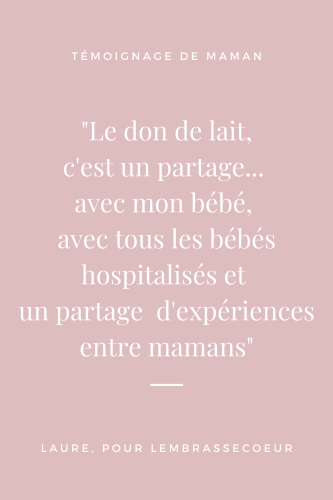Citation du témoignage de Laure sur le don de lait maternel, épingle pinterest