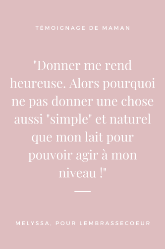 Citation du témoignage de Melyssa sur le don de lait maternel, épingle pinterest