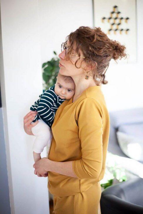 Un exemple de robe d'allaitement réalisée avec le patron + extension Pêche Melma